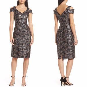 Maggy London Twilight Rose Metallic Brocade Dress